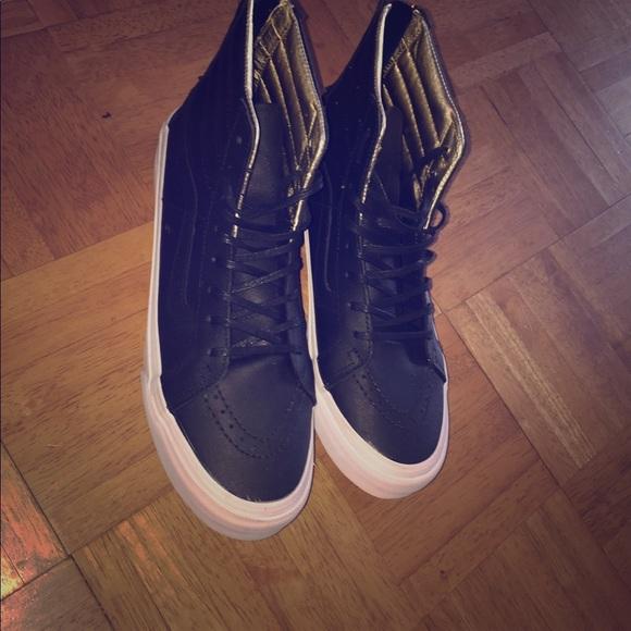 5aa824c244 Vans Shoes - Vans Sk8-Hi Slim Black   Gold Leather Shoes